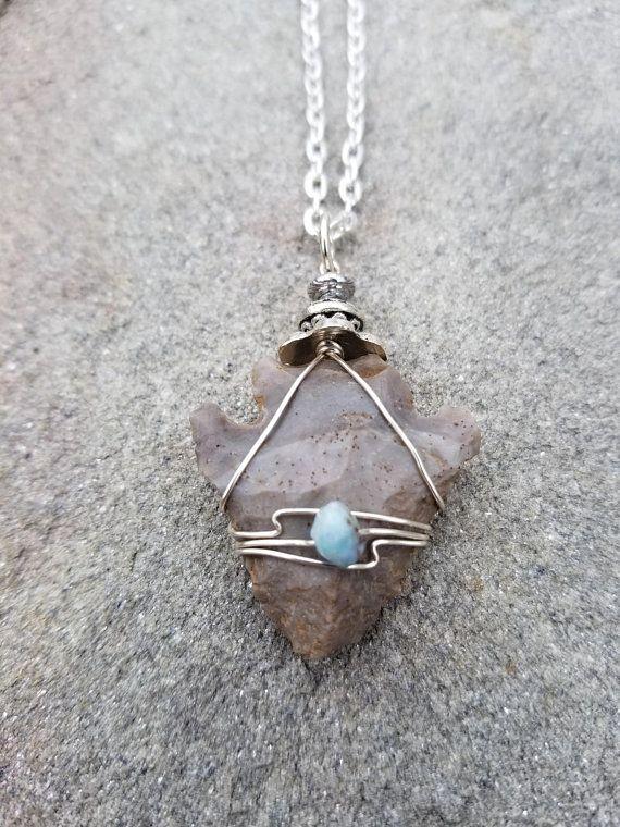 Powwow Regalia 5 Wire wrapped stone arrowheads gemstone jewelry Native American made pendants Arrow head stone art