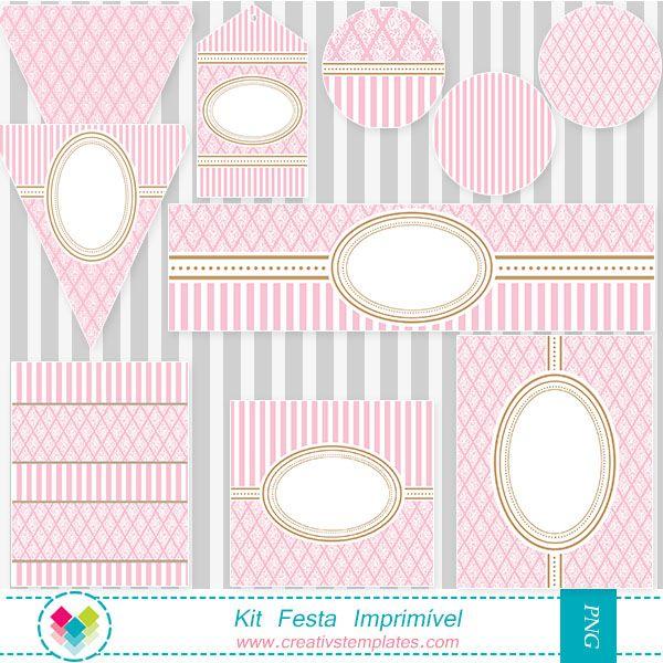 Kit festa para imprimir rosa provençal - Printable party