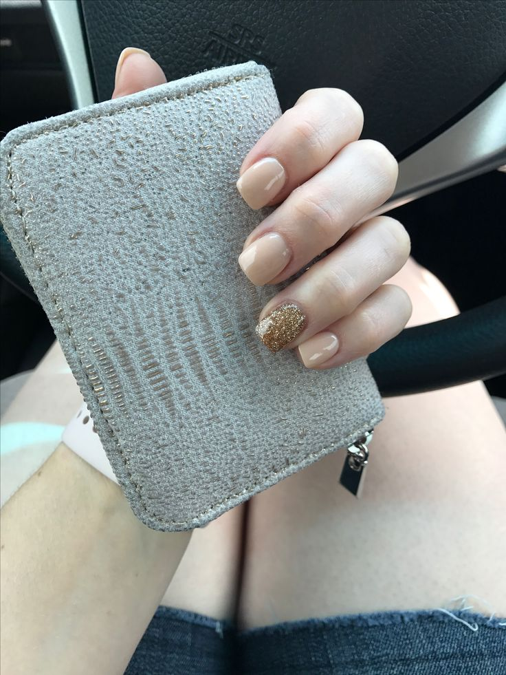 Nude and gold Nexgen dip powder nails. Classy & elegant