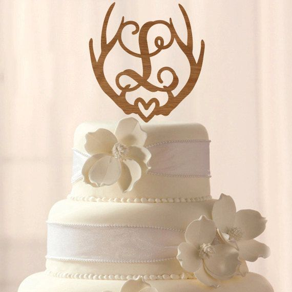 Wood Deer Antler Initial Cake Topper By RebeccaLaneGraphics Find This Pin And More On Wedding Toppers