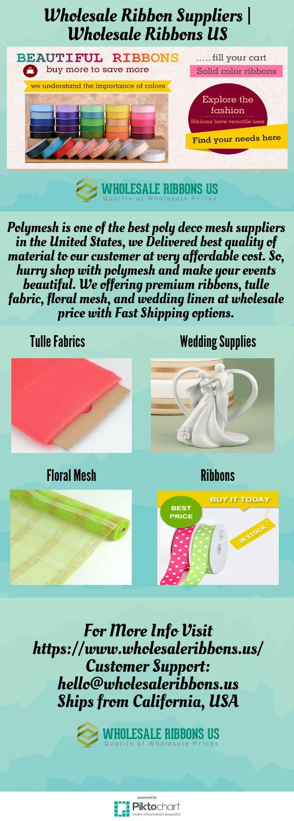 Wholesale Ribbon Suppliers | Wholesale Ribbons US  Polymesh is one of the best poly deco mesh suppliers in the United States, we Delivered best quality of material to our customer at very affordable cost. So, hurry shop with polymesh and make your events beautiful.