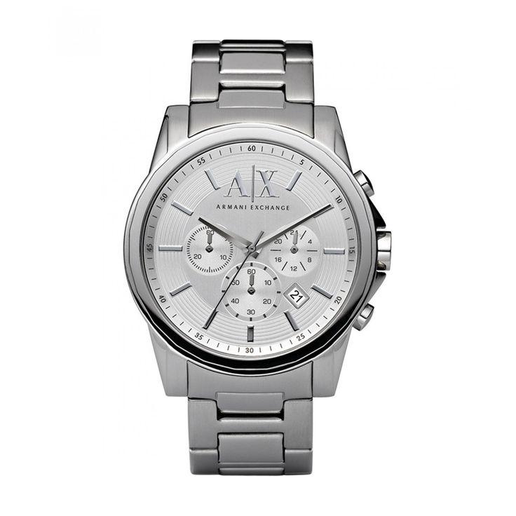 Reloj Armani Exchange con caja redonda y bisel de acero inoxidable pulido extensible de brazalete carátula blanca texturizada y función de fechador; movimiento de cuarzo Miyota.