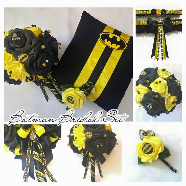 Batman Themed Brides Bouquet/Bridal Set by scarboroughrose on Etsy