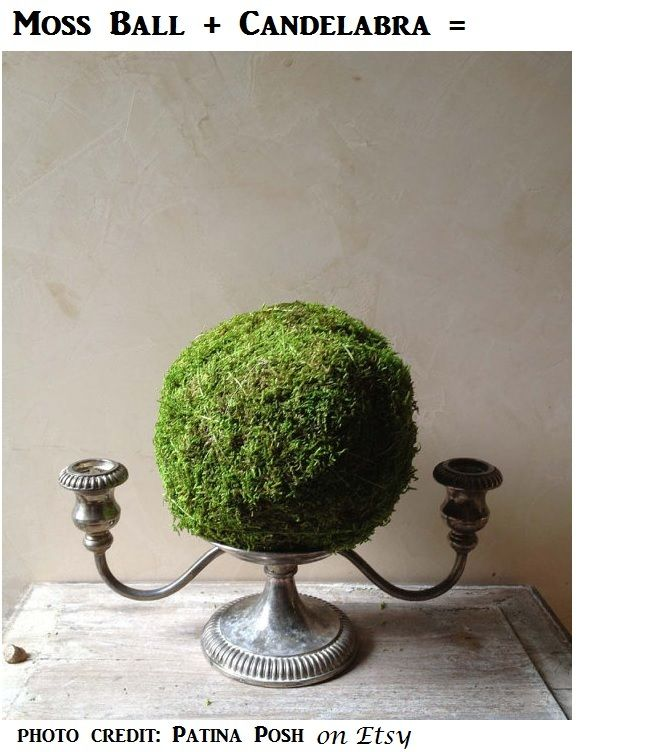 This year, candelabras are appearing more often on reception tables at formal events.  One inexpensive way to fill the reflector plate on a candelabra is to add a real or faux moss ball.  Consider asking your florist to add a few strands of ivy to wrap around the ball and the candelabra base.