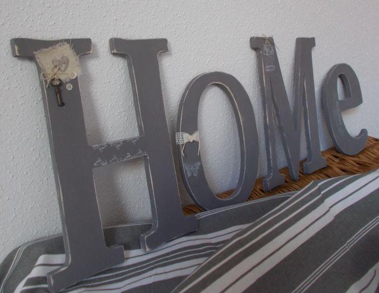 Grandes lettres en bois customisées : HOME - lettres décoratives en bois : Décorations murales par bois-chiffons
