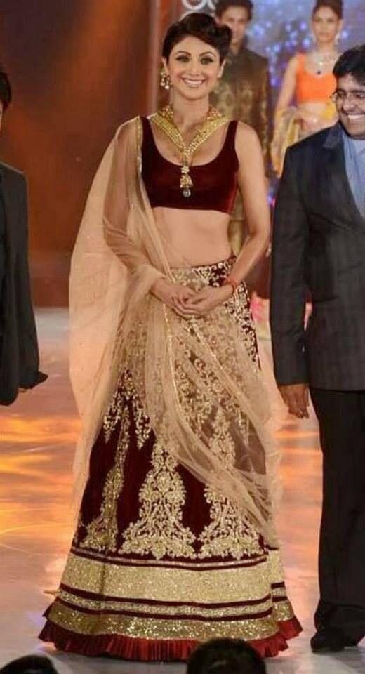 Shilpa Shetty In Dark Maroon Velvet Garara With Golden Blouse Beautiful Blouse Cut