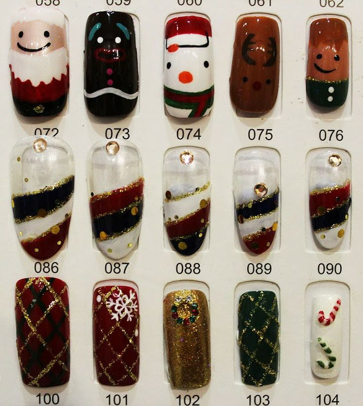 Designed christmas nail samples are for the customers to choose any one of them for their nails. (Part 2)
