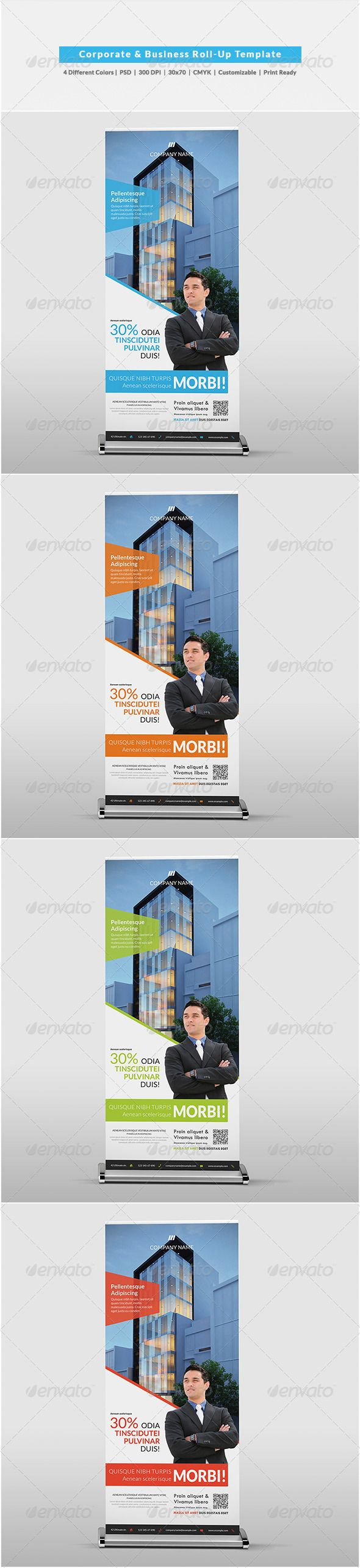 Corporate & Business Roll-Up Template #GraphicRiver Corporate & Business Roll-Up Template 4 Different Colors Red Green Blue Orange Details Easy to modify CMYK 300 DPI 30×70 Print ready Layered PSD Fonts Open Sans Lato -Myriad Pro (Default photoshop font, can be replaced with other sans-serif font) -Tw Cen MT (Default microsoft font, can be replaced with other sans-serif font) Photos Photos are not included. Photos by jinkazamah , Victor1558 Thank you! Created: 27 November 13 Graphics Files…