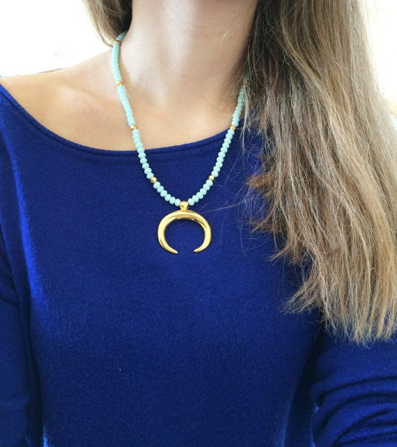 double horn necklace moon necklace greek by christelboutique
