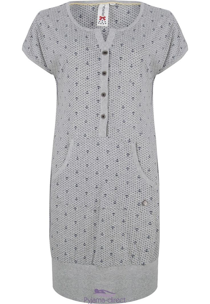 "A ""dots & anchors"" young & cute short sleeve grey and blue nightdress from Rebelle."