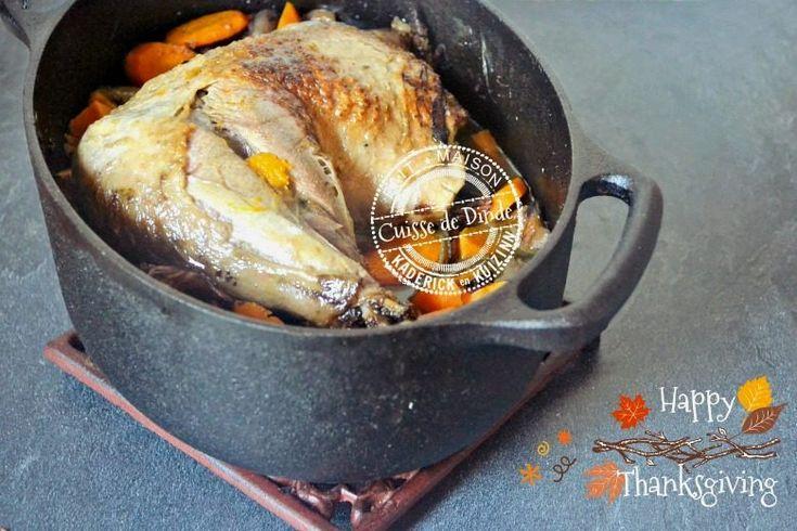 Cuisse de dinde rôtie à la cocotte en fonte au four et légumes d'automne
