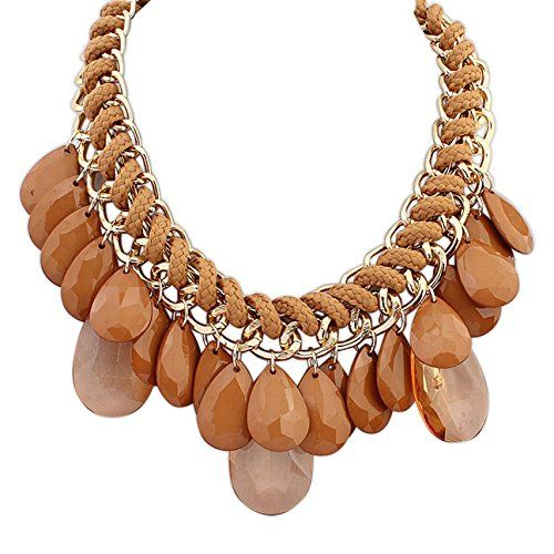 Layered Bohemian Tassels Drop Statement Necklace in Coffee Brown Gift for Women Bridesmaid Bride Jewelry Etc.  www.amazon.com/shops/jewelry_etc_store
