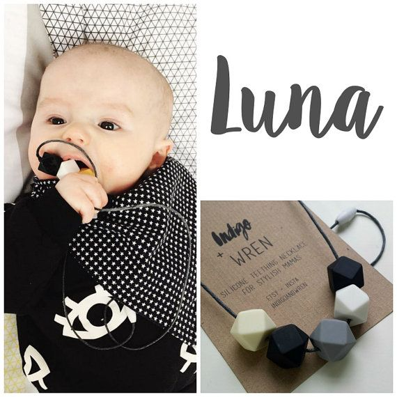 silicone teething necklace / Luna / teething by indigoandwren
