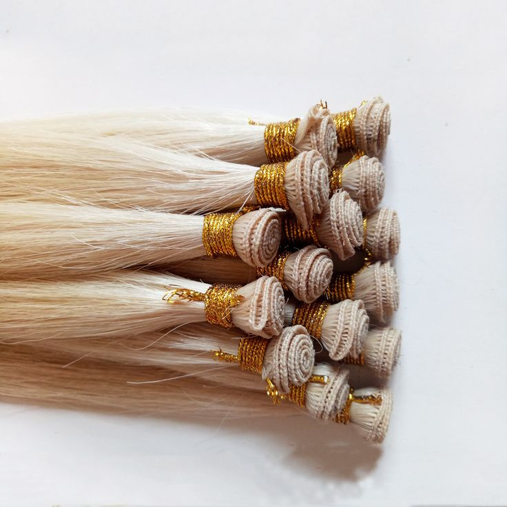Hand tied hair weft Blond straight High-end European and American hair extensions