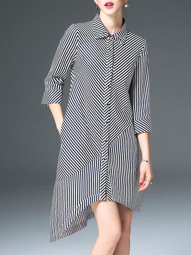 Shop Midi Dresses - Black Stripes Asymmetric Casual Cotton Shirt Dress online. Discover unique designers fashion at StyleWe.com.