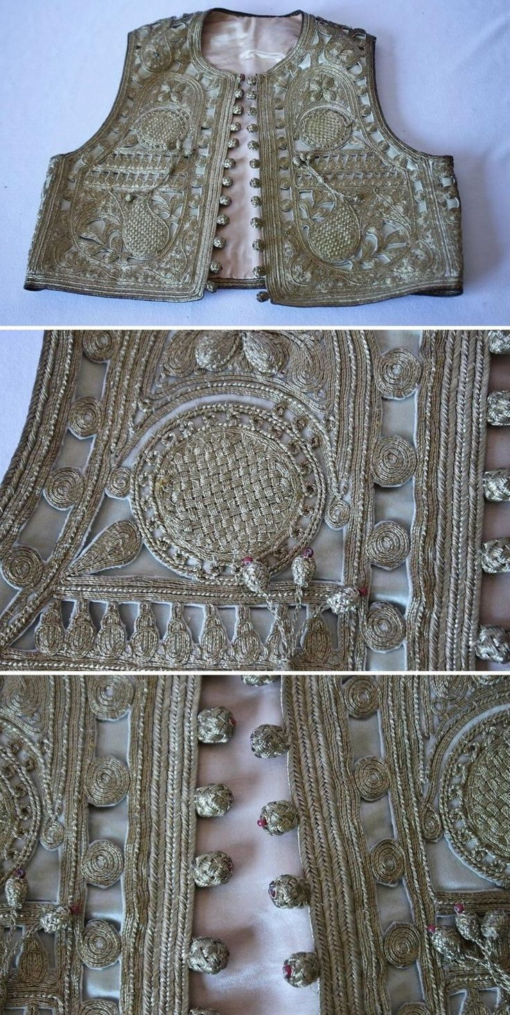 Front and close-ups of an embroidered woman's 'yelek' (sleeveless vest). Silver (metallic) thread on satin; embroidery ('tuturma'-technique) in west-Anatolian style, late 19th century.