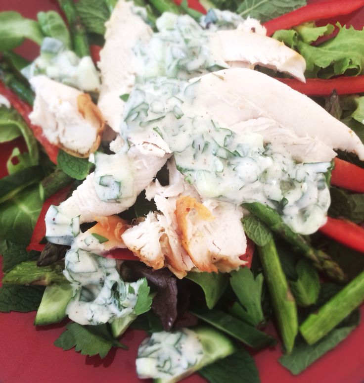 Chicken salad with grilled asparagus, herbs and tzatziki