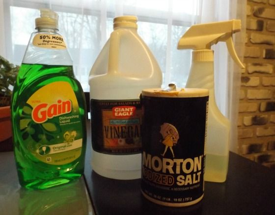 Start with a gallon of white vinegar. The average vinegar is 5% acidic and will work,if you can find one that's 10% - 20% mixture will be more potent. Pour vinegar in a pot; Heat on stove. Add 1 c. of salt. Stir til salt dissolves. Let cool. Add 2 T. liquid dish soap. Vinegar, when diluted with a gallon of water makes a good fertilizer for acid-loving plants like azaleas and blueberries. When mixed full strength with salt, it works like Round-Up. Soap helps mixture stick to leaves. Pour in