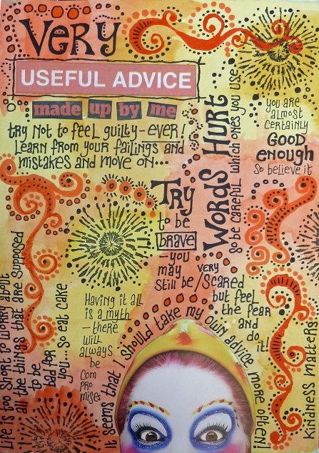 Rosie's Arty Stuff: USEFUL ADVICE.....great idea for a journal page.