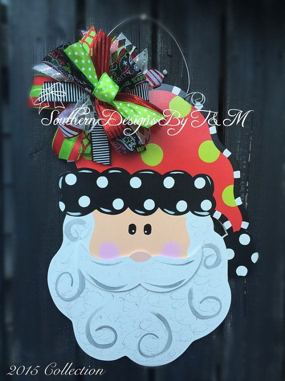 Santa door hanger wooden door hanger by SouthernDesignsByTM