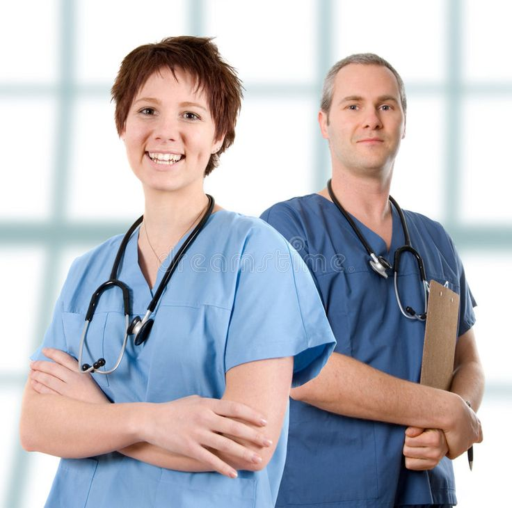 Male nurse. Male doctor happy on white isolated background