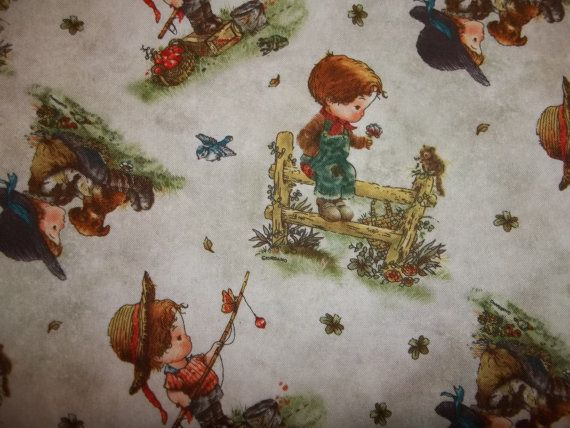 Oh Boy Retro style Little boys fishing and playing From SPX  Fabrics 1 yard cotton quilt fabric. $7.99, via Etsy.