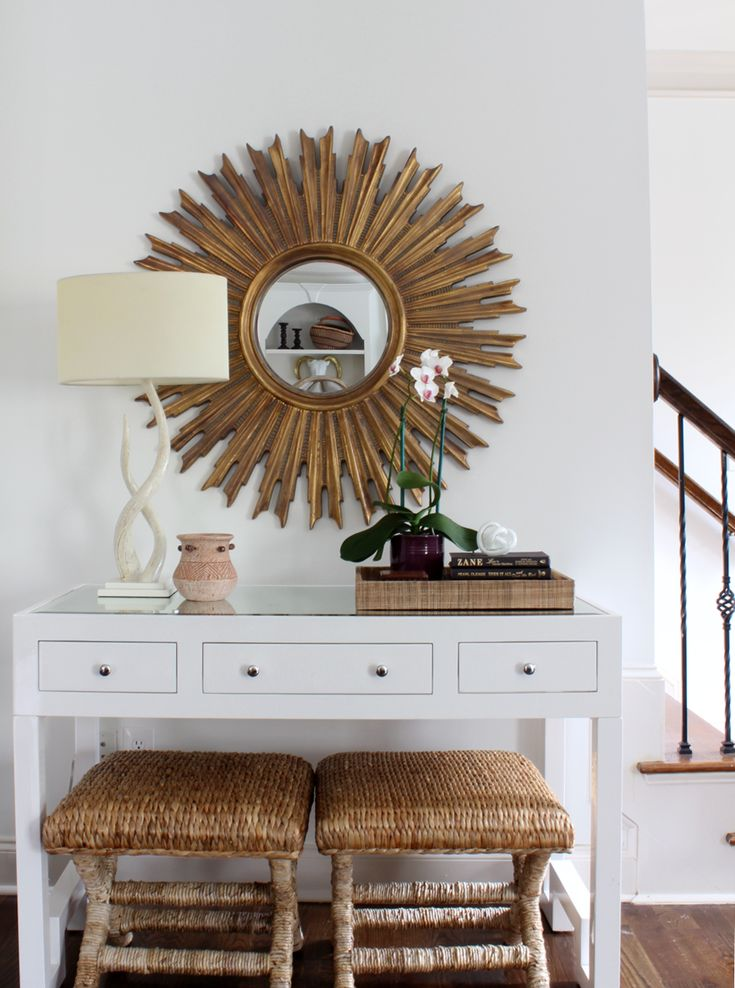 Global Modern Entry By Erika Ward Interiors #sunburstmirror #stools  #whitedesk