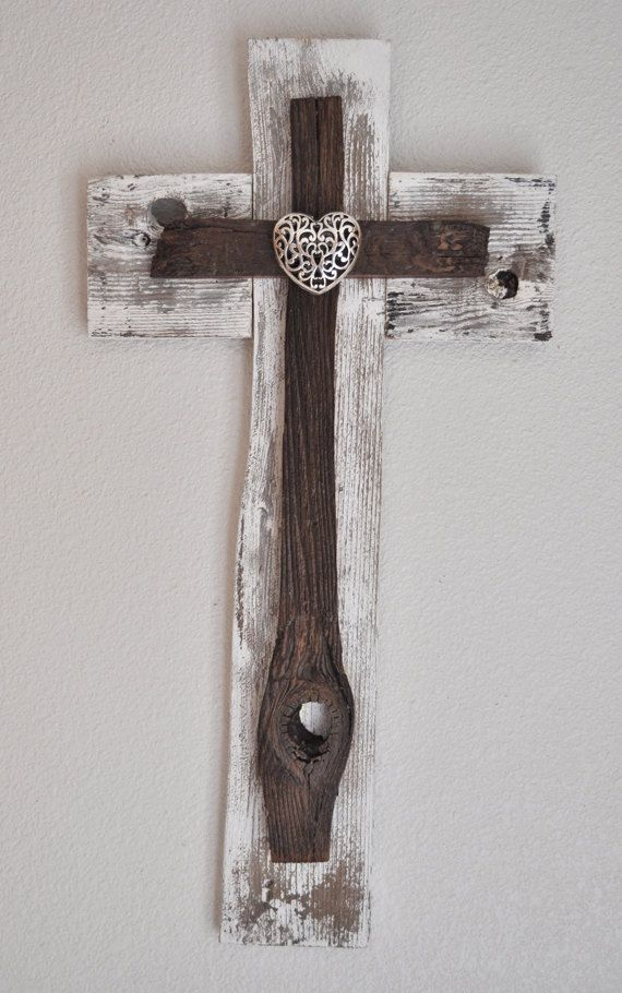 Rustic White Heart Cross -One of a kind reclaimed wood cross, Beach decor, shabby chic decor, western style cross,western style decor
