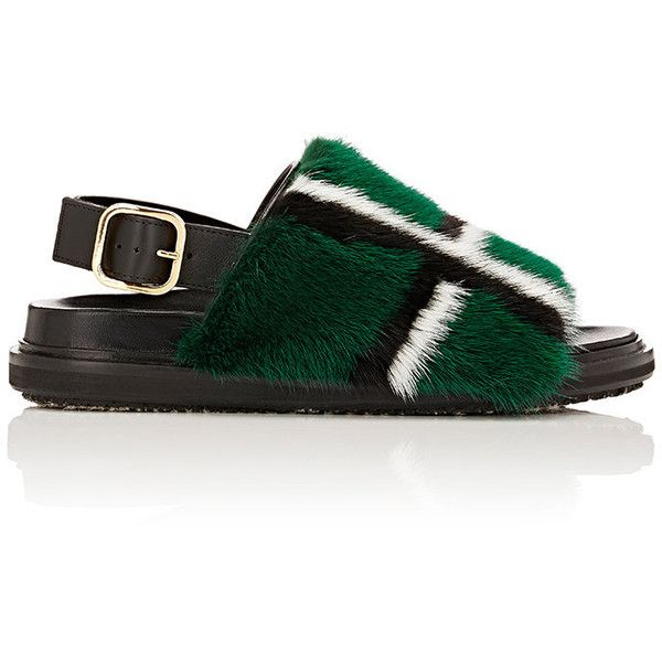 Marni Women's Fur-Trimmed Slingback Sandals ($2,190) ❤ liked on Polyvore featuring shoes, sandals, green, plaid shoes, buckle shoes, marni shoes, sling back shoes and buckle sandals
