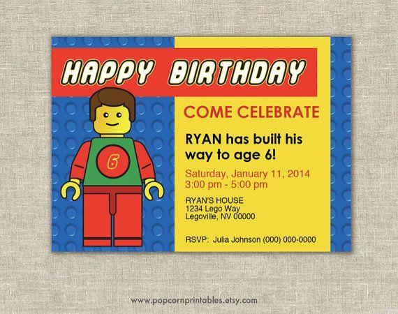 Lego Invitation Printable Editable Text Pdf Instant