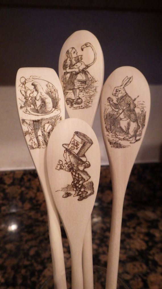 Solid Wood Spoon with Woodburning Design Alice by ChicadeeCreates