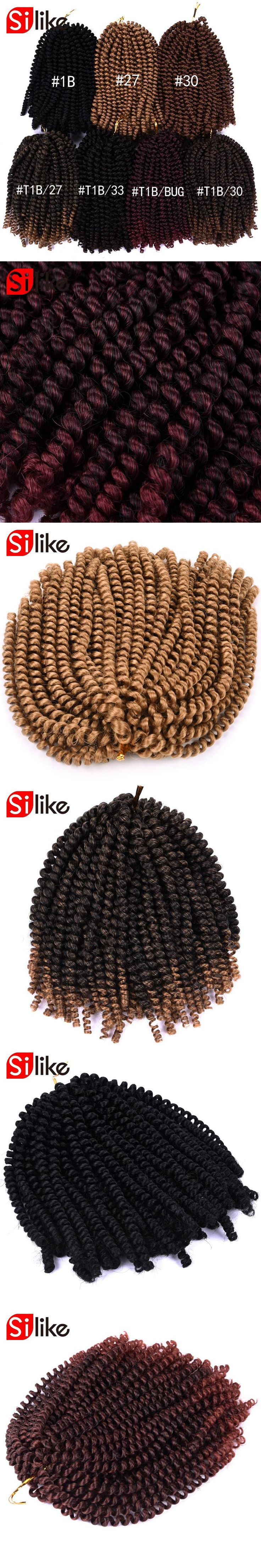 Silike 8 inch Crochet Braids Ombre Spring Twist Hair Kanekalon Synthetic Hair Extensions Braids 110g/pack for women