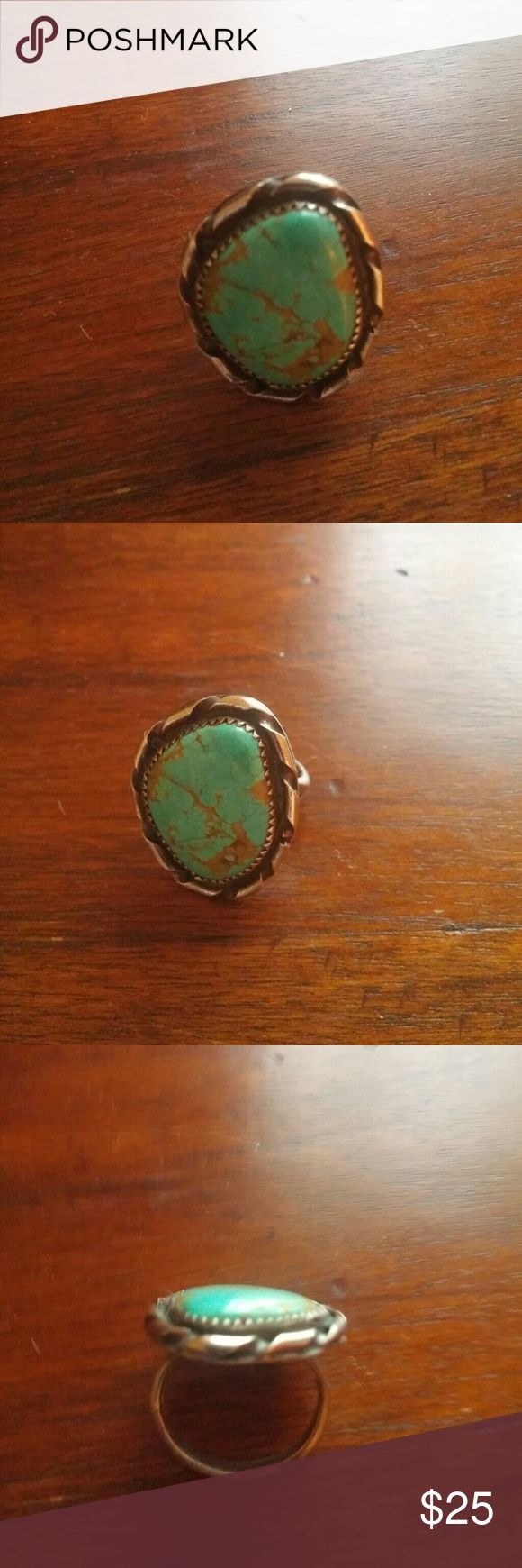925 sterling and natural turquoise bezel set ring Great for summer... Stamped sterling and handmade Not sure by who or from where ...bought thos many years ago at  Fair  Enjoy  Tight size 7...a 6.5 may be better.  I am a 7 and it is tight but it is not hard to get on al.p.d off Philosophy Jewelry Rings