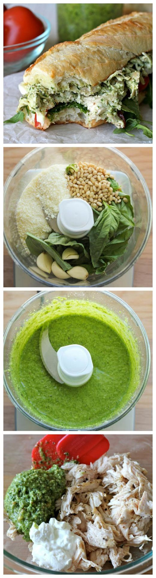 Chicken pesto sandwich - lightened up with greek yogurt