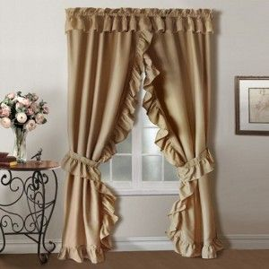 picturesque charming living room curtains ideas | Charming Priscillas Light Brown Window Curtain With Lace ...