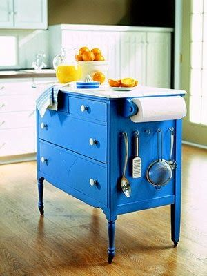 Make a dresser into a Kitchen Island - add casters for easy moving and a marble or butcher block top