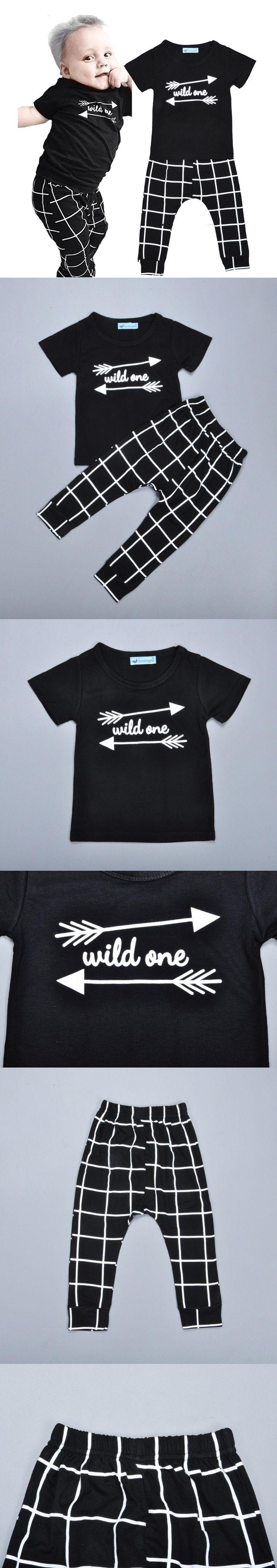 Baby boy clothing set Cartoon letter printing short T-shirt t shirt tops + Plaid harem pants fashion black kids boy clothes set $9.22