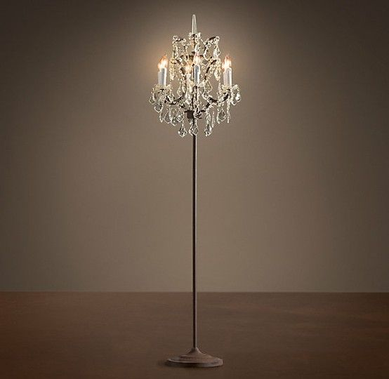 diy floor lamp | chandelier floor lamp. by leticia