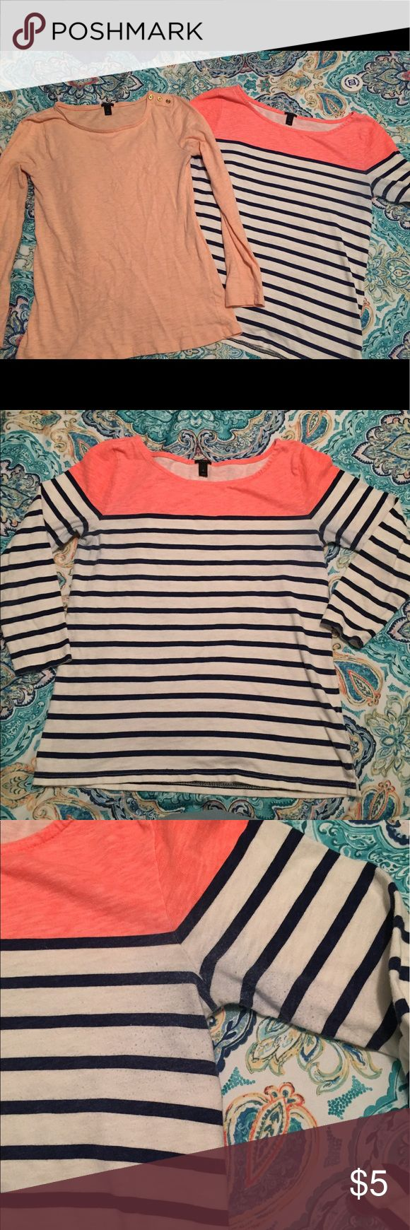 J Crew shirts Two J. crew shirts both size small. The striped one has slight discoloration due to rubbing and the solid one has a small spot on the sleeve. Striped one is quarter length sleeves and the solid is long sleeves. $5 for both J. Crew Tops Tees - Long Sleeve