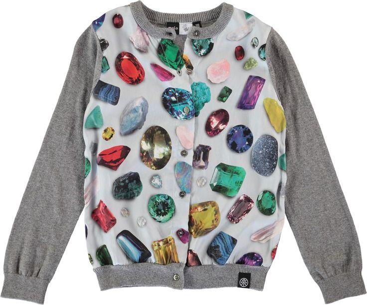 Gwenda - Gemstones - long sleeve grey cardigan with diamond print front