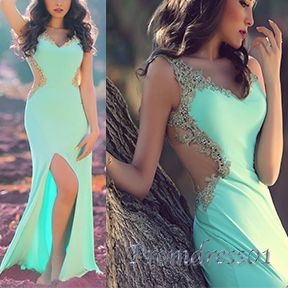 Beautiful apple green gold lace open waist long prom dress with slit, ball gown, prom dress 2016 #coniefox #2016prom