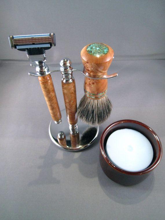 Men's shaving kit razor brush badger hair handcrafted wooden men's gifts father's day birthday groom gift Gillette Mach3 CUSTOM ORDER $150