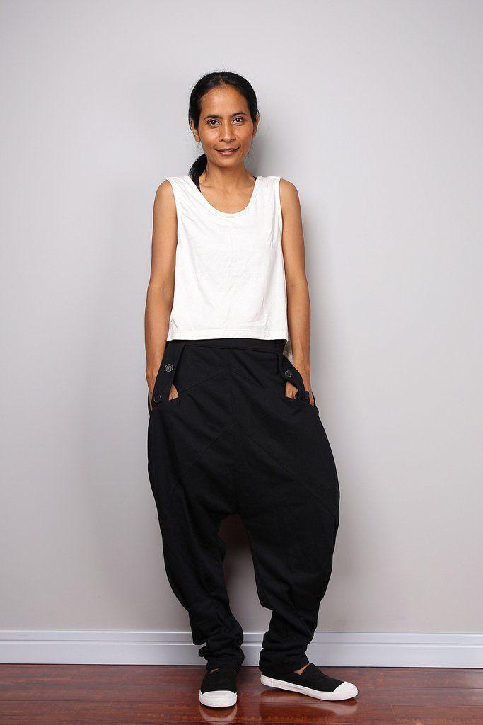 Black pants, low crotch pants, black trousers, black harem pants