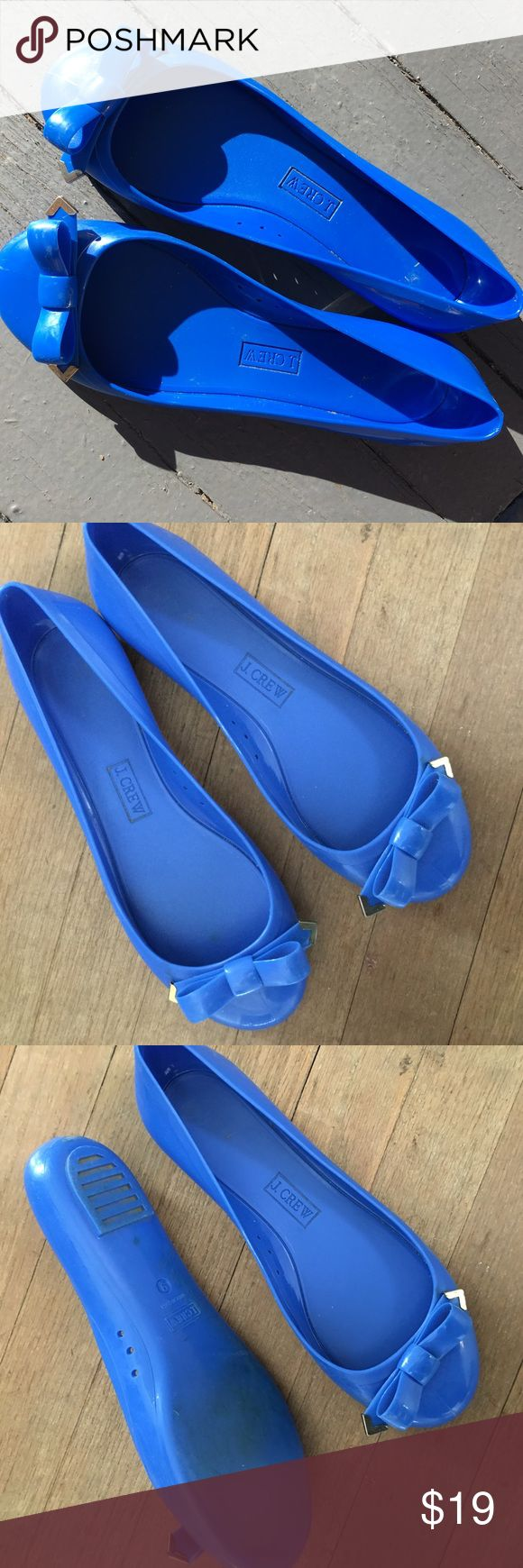 JCREW rain shoes Adorable blue flats- like rain boots but flats- so cute! Great used condition! These are great because they clean easily- I'd say best for an 8.5-9 . I'm a 9 and they fit but because you wear them when they are raining, I just think it'd be best if they were a little looser J. Crew Shoes Winter & Rain Boots