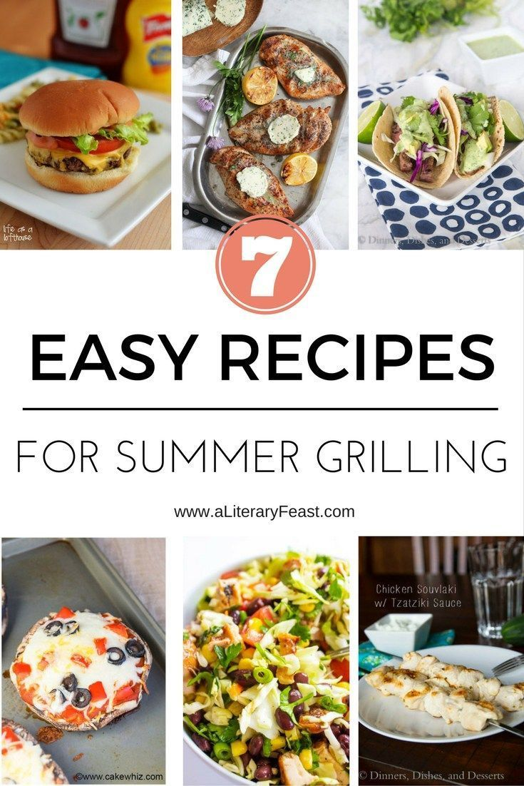 A Literary Feast -- summer grilling recipes, burgers, BLT hotdogs, chicken skewers, kebobs, portobello pizzas, flank steak tacos, compound butter chicken, southwestern salad, in-n-out burger