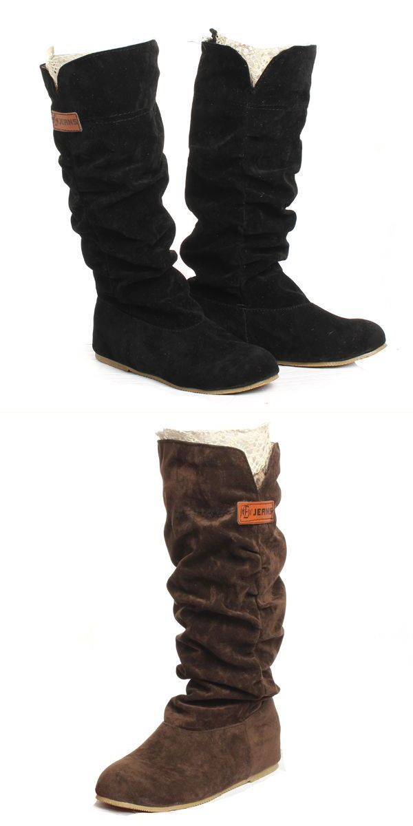 Boots Company Women Knee High Lace Cuff Increased Internal Woolen Shoes Of
