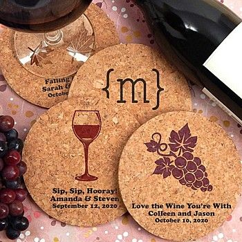 Eco-friendly round cork coaster wedding favors personalized with vineyard designs and custom text