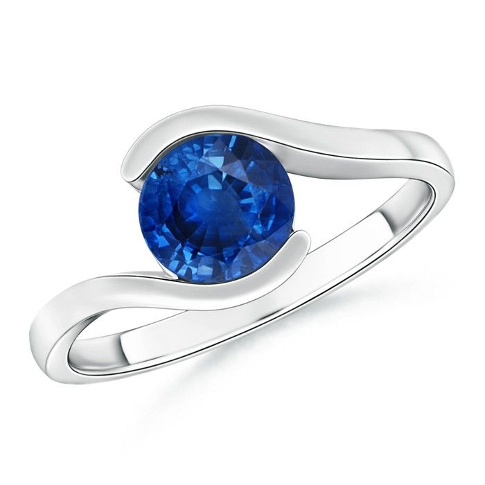 Angara Prong Set Natural Sapphire Curved Shank Twisted Ring White Gold FLdbKsXBK
