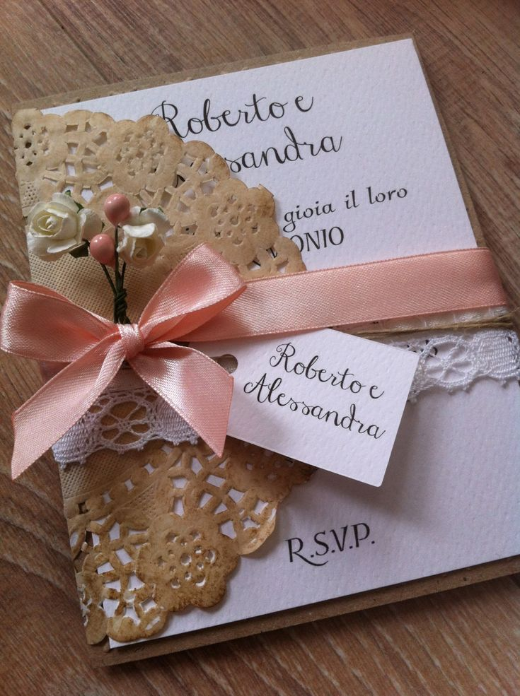 20 Country Chic wedding invitations flower by LeManiDiLinda
