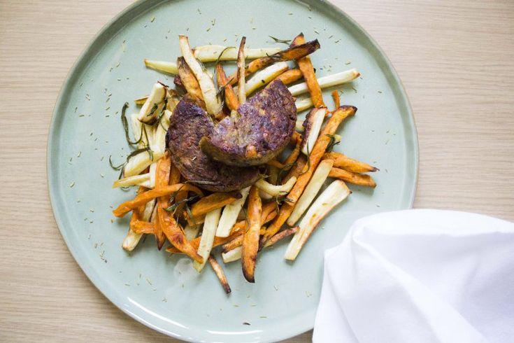Groenteburger met pastinaak en zoete aardappel - Veggieburger with parsnip and sweet potato